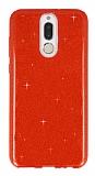 Eiroo Silvery Huawei Mate 10 Lite Simli Kırmızı Silikon Kılıf
