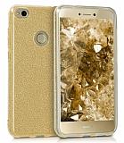 Eiroo Silvery Huawei P9 Lite 2017 Simli Gold Silikon Kılıf