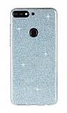 Eiroo Silvery Huawei Y7 2018 Simli Mavi Silikon Kılıf
