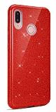 Eiroo Silvery Huawei Y7 Prime 2019 Simli Kırmızı Silikon Kılıf