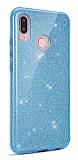 Eiroo Silvery Huawei Y7 Prime 2019 Simli Mavi Silikon Kılıf