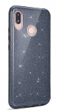 Eiroo Silvery Huawei Y7 Prime 2019 Simli Siyah Silikon Kılıf