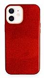 Eiroo Silvery iPhone 12 / iPhone 12 Pro 6.1 inç Simli Kırmızı Silikon Kılıf