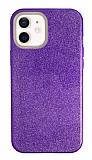 Eiroo Silvery iPhone 12 / iPhone 12 Pro 6.1 inç Simli Mor Silikon Kılıf