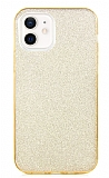 Eiroo Silvery iPhone 12 / iPhone 12 Pro 6.1 inç Simli Gold Silikon Kılıf