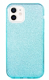 Eiroo Silvery iPhone 12 / iPhone 12 Pro 6.1 inç Simli Mavi Silikon Kılıf