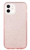 Eiroo Silvery iPhone 12 / iPhone 12 Pro 6.1 inç Simli Pembe Silikon Kılıf