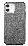 Eiroo Silvery iPhone 12 / iPhone 12 Pro 6.1 inç Simli Siyah Silikon Kılıf