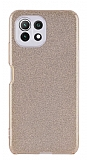 Eiroo Silvery Xiaomi Mi 11 Lite Kamera Korumalı Simli Gold Silikon Kılıf