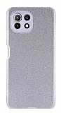 Eiroo Silvery Xiaomi Mi 11 Lite Kamera Korumalı Simli Silver Silikon Kılıf