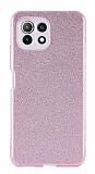 Eiroo Silvery Xiaomi Mi 11 Lite Kamera Korumalı Simli Rose Gold Silikon Kılıf