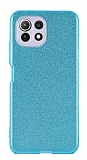 Eiroo Silvery Xiaomi Mi 11 Lite Kamera Korumalı Simli Mavi Silikon Kılıf