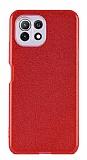Eiroo Silvery Xiaomi Mi 11 Lite Kamera Korumalı Simli Kırmızı Silikon Kılıf