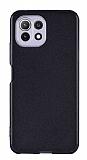 Eiroo Silvery Xiaomi Mi 11 Lite Kamera Korumalı Simli Siyah Silikon Kılıf