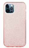 Eiroo Silvery iPhone 12 Pro Max 6.7 inç Simli Pembe Silikon Kılıf
