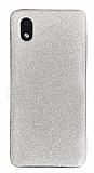 Eiroo Silvery Samsung Galaxy A01 Core Simli Silver Silikon Kılıf