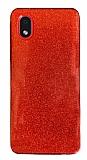 Eiroo Silvery Samsung Galaxy A01 Core Simli Kırmızı Silikon Kılıf