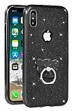 Eiroo Silvery iPhone X Simli Selfie Yüzüklü Siyah Silikon Kılıf