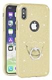 Eiroo Silvery iPhone X Simli Selfie Yüzüklü Gold Silikon Kılıf