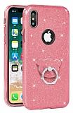 Eiroo Silvery iPhone X Simli Selfie Yüzüklü Rose Gold Silikon Kılıf