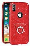 Eiroo Silvery iPhone X Simli Selfie Yüzüklü Kırmızı Silikon Kılıf