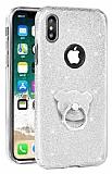 Eiroo Silvery iPhone X Simli Selfie Yüzüklü Silver Silikon Kılıf