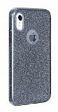 Eiroo Silvery iPhone XR Simli Siyah Silikon Kılıf