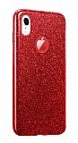 Eiroo Silvery iPhone XR Simli Kırmızı Silikon Kılıf