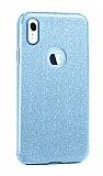 Eiroo Silvery iPhone XR Simli Mavi Silikon Kılıf