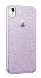 Eiroo Silvery iPhone XR Simli Mor Silikon Kılıf