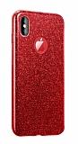 Eiroo Silvery iPhone XS Max Simli Kırmızı Silikon Kılıf