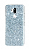 Eiroo Silvery LG G7 ThinQ Simli Mavi Silikon Kılıf