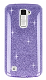 Eiroo Silvery LG K10 Simli Mor Silikon Kılıf
