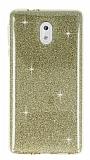 Eiroo Silvery Nokia 3 Simli Gold Silikon Kılıf