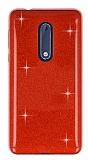 Eiroo Silvery Nokia 5 Simli Kırmızı Silikon Kılıf