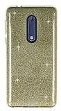 Eiroo Silvery Nokia 5 Simli Gold Silikon Kılıf