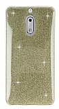 Eiroo Silvery Nokia 6 Simli Gold Silikon Kılıf
