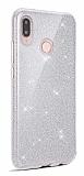 Eiroo Silvery Samsung Galaxy A20S Simli Silver Silikon Kılıf
