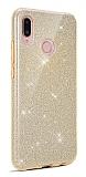 Eiroo Silvery Samsung Galaxy A20S Simli Gold Silikon Kılıf