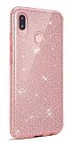 Eiroo Silvery Samsung Galaxy A20S Simli Pembe Silikon Kılıf
