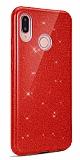 Eiroo Silvery Samsung Galaxy A20S Simli Kırmızı Silikon Kılıf