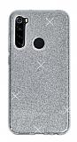 Eiroo Silvery Samsung Galaxy A21 Simli Silver Silikon Kılıf