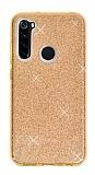 Eiroo Silvery Samsung Galaxy A21 Simli Gold Silikon Kılıf