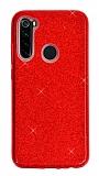 Eiroo Silvery Samsung Galaxy A21 Simli Kırmızı Silikon Kılıf