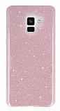 Eiroo Silvery Samsung Galaxy A6 2018 Simli Pembe Silikon Kılıf