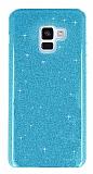 Eiroo Silvery Samsung Galaxy A6 2018 Simli Mavi Silikon Kılıf