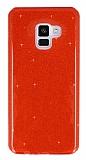 Eiroo Silvery Samsung Galaxy A6 2018 Simli Kırmızı Silikon Kılıf