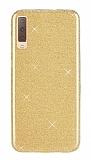 Eiroo Silvery Samsung Galaxy A7 2018 Simli Gold Silikon Kılıf
