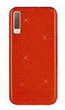 Eiroo Silvery Samsung Galaxy A7 2018 Simli Kırmızı Silikon Kılıf