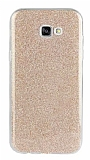 Eiroo Silvery Samsung Galaxy A8 2016 Simli Gold Silikon Kılıf